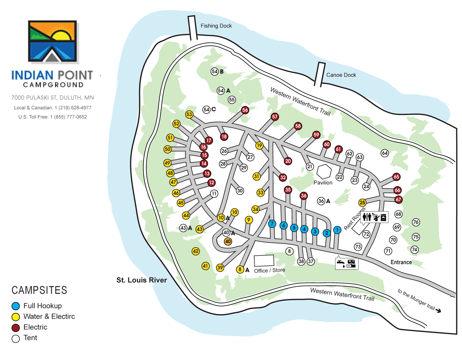 Indian Point Campground Map, Dulut, MN
